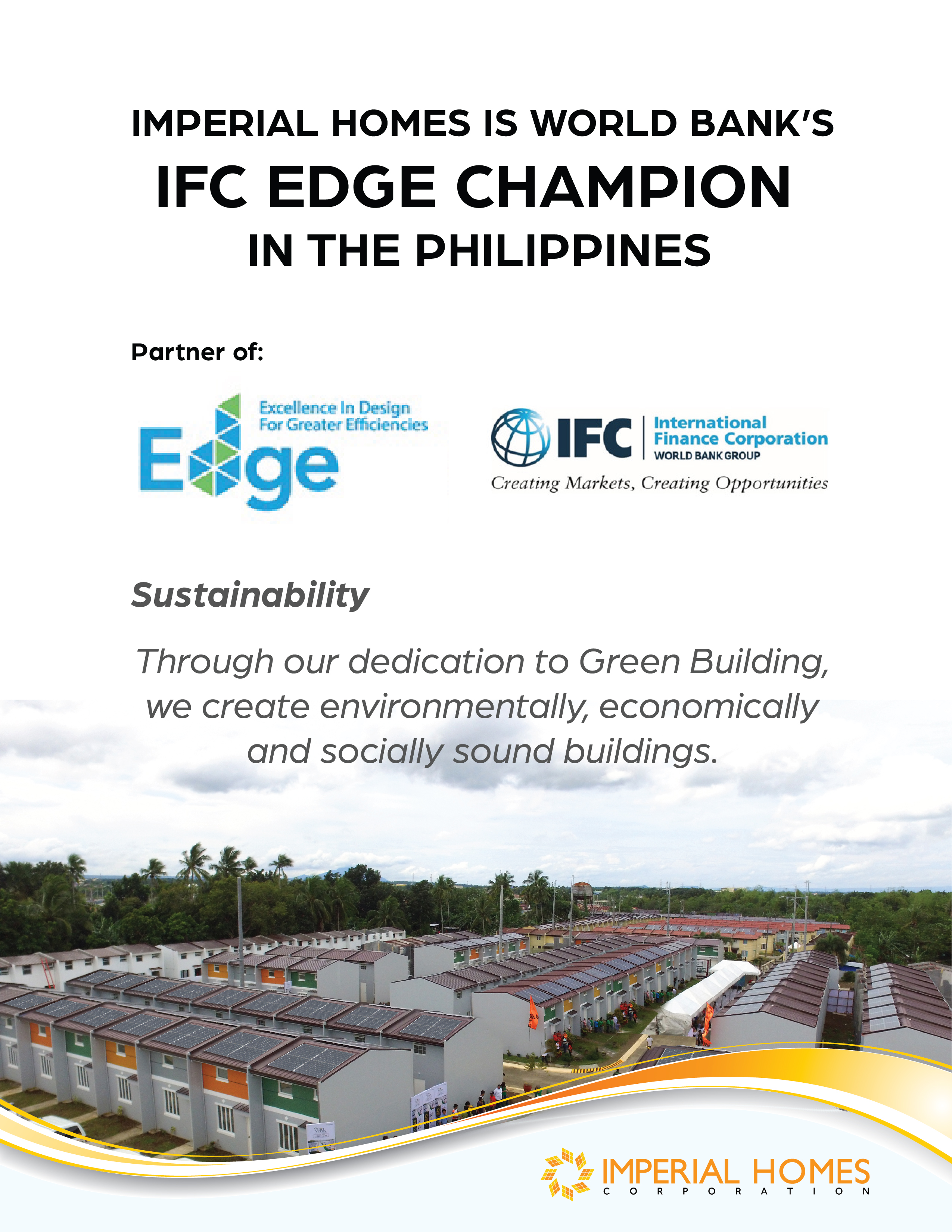 Imperial Homes is World Bank's IFC EDGE CHAMPION in the Philippines